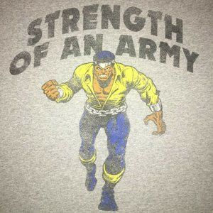 Marvel Luke Cage Strength of an Army Men's XL Tee